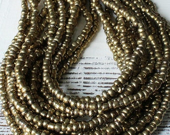 Indonesian Rustic Tribal Matte Seed Beads - Jewelry Making Supply (~5mm) Old Gold - 21 or 42 Inch Strand