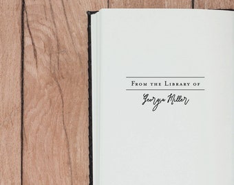 Library Stamp, Book Stamp - Style #01, Wood Mounted or Self-Inking Stamp, Gifts for Book Lovers, From the Library of, Ex Libris Stamp