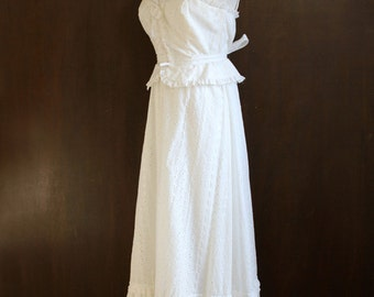 vintage white maxi dress, simple wedding gown, goddess gown, strappy, boho chic, flower child, bustier, eyelet fabric, size small