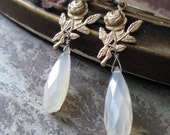 EARRINGS - pearl chalcedony drops brass roses white faceted romantic shabby dainty gift idea, the french circus by robyn parrish