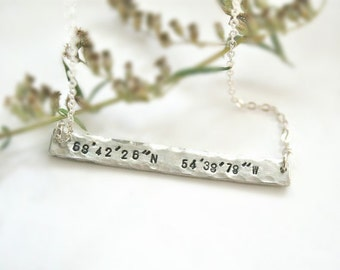 Custom coordinates necklace, Bar with coordinates, Latitude and longitude jewelry, Cordinate necklace, Location Necklace, Sterling silver