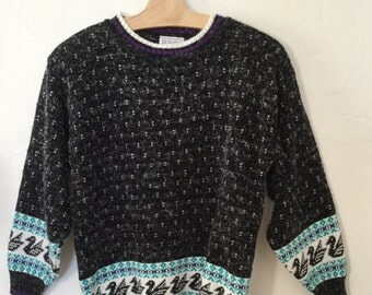 Vintage 80s / Duck Print / Teal Green / Black / Purple / New Wave / Slouchy / Sweater / Small / Medium