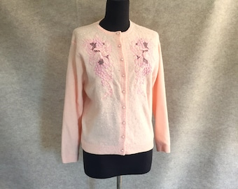 Vintage 60's Beaded Cardigan Sweater, Pink, 50's Rockabilly Mad Men Style, Women's Medium, Bust 39