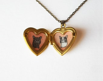 French Bulldog Jewelry - Frenchie Dog Pendant - Heart Locket Pet Necklace
