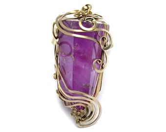 Amethyst Pendant, Purple Stone Pendant, Silver Pendant, Gemstone Pendant, Large Pendant, Point Necklace, Wire Wrap Pendant, Boho Jewelry