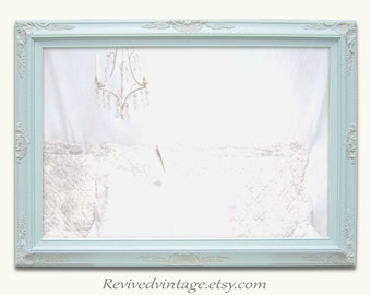 "LARGE BEDROOM MIRROR -AnY CoLOR- Large Bathroom Mirror 44""x32"" Mint Green Framed Baroque Dresser Mirror Framed Vanity Mirror"