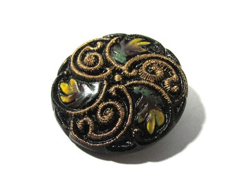 Czech Glass Button Leaves Foliage 37mm VINTAGE Czech Button Black Gold Luster Hand Painted Czech Glass Vintage Button Jewelry Supply (N47)