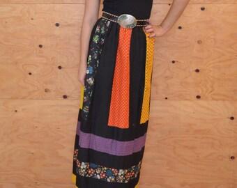 Vintage 70's Rainbow Floral Paneled Skirt Maxi Length Black Color Blocking Size Medium