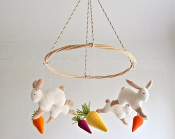 Ceiling baby mobile, jumping bunnies, carrots, rabbits, white, beige, new baby gift, baby shower, pastel nursery decor, vegan