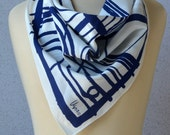 Vera Neumann vintage square scarf: white, navy blue, abstract, line drawing, artistic