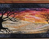 Batik quilted wall hanging sunrise sunset on a winters day art quilt