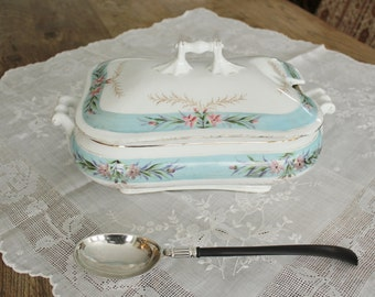 Antique Hand Painted Carlsbad Austria Covered Porcelain Tureen