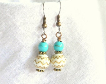 Blue EarringsWhite with Gold Aztec Design Drop Dangle Surgical Steel French Hooks Beaded Lightweight