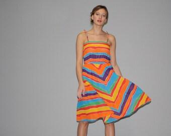 Vintage 1980s Chevron Rainbow Cotton Summer Dress - 1980s Rainbow Dress - Vintage Summer Dresses - WD0647