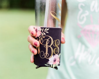 Monogram Drink Insulator Floral Chic for Bachelorette Party Favors or Gift for Friends Boho Chic Drink Style Gift for Her (Item - KMF800)