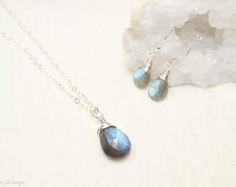 Labradorite Necklace and Earring Set, Wire Wrap, Blue Flash, Labradorite Jewelry, Gold Filled or Sterling Silver