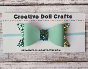 18 Inch Doll Turquoise Glitter Hair Bow, Doll Glitter Bow Headband, Headband For Dolls