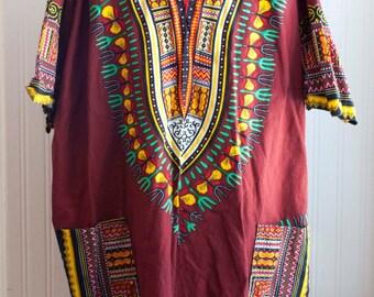 Man Vintage Hawaiian Shirt, Mens Tribal Pull Over,  Hawaii Top with Pockets, Mama U Papa, Luau Party Shirt, Oversized Shirt for Man