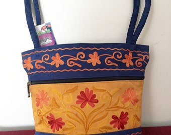 Suede Leather Women's Embroidered Handbag Shoulder Bag 10 x 9 x 3 by Kashmirvalley.com -Blue/Mustard with Daisy  -