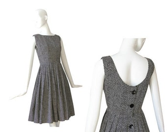 1950s Dress • 50s Day Dress • Black and White • S / M Small Medium