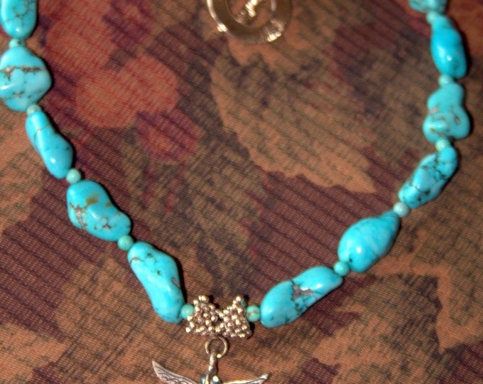 Turquoise Nugget and Silver Dragonfly Necklace