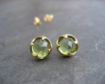 Peridot studs, 14 k gold studs, rose cut studs, genuine gemstones,  thorn setting, green studs, AAA grade peridot, handmade