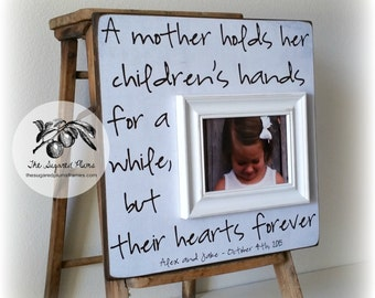 Gift for Mom, Grandma Gift, Mothers Day Frame, Personalized Picture Frame, A Mother Holds Her Childrens Hands 16x16 The Sugared Plums Frames