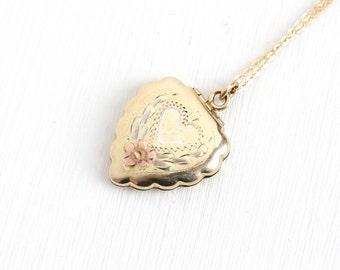 Sale - Vintage 12k Gold Filled Flower Heart Locket Necklace - 1940s 1950s Mid-Century Floral Love Pendant Jewelry Marked La Mode