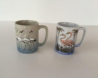 Ceramic Mugs/Coffee Mugs/ Flamingo Mug/Egret Mug/ Total TWO Flamingo/ Otagiri  Japan Mugs/ By Gatormom13