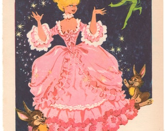 Cinderella Fairy Tale Lithograph Illustration, Book Plate by Maria Pascual, Vintage 1965