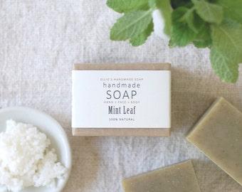 MINT LEAF - Ellie's Handmade Soap - 100% Natural + Cold Process Olive Oil Soap - 4 ounce bar