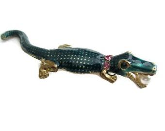 alligator, crocodile brooch, green metallic, vintage, rhinestones, pearl, reptile jewelry, sea, ocean