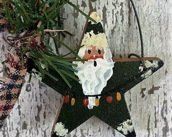 Primitive Country Santa, Santa Ornament, Painted Santa, Country Ornament, Star Ornament,Primitive Ornament,Primitive Christmas,Wood Ornament