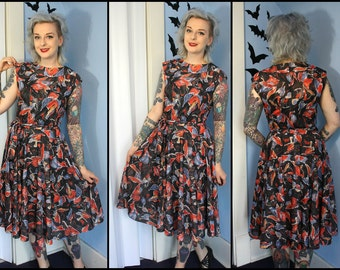 Beautiful Abstract Floral Vintage Womens 70s 80s Swing Dress Modern Size Medium 40s Inspired Pinup Retro