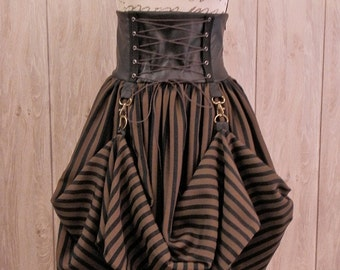 Steampunk Lolita Skirt - Black and brown stripes fabric