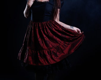 Gothic Lolita Red and Black Tafetan Skirt Steampunk