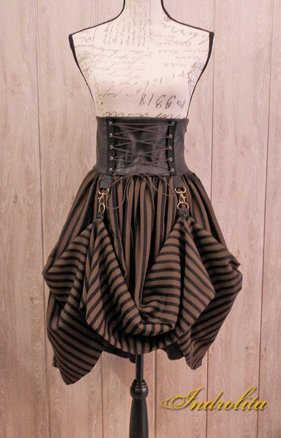 Steampunk Lolita Skirt - Black and brown stripes fabric