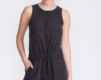 Black romper, fitted overall, fitted top jumpsuit, buttoned down, summer jumpsuit, loose fit pants, black jumpsuit,
