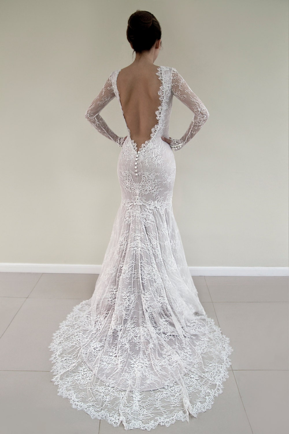 Open back lace wedding dress long sleeved bridal gown for Champagne colored wedding dresses with sleeves