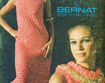 Bernat AFTER FIVE Book No. 153 Knit & Crochet Patterns Ribbon Sequin Dresses 1968