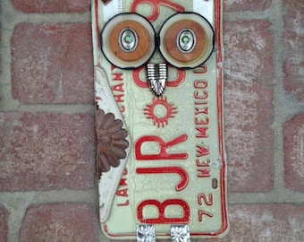 Upcycled License Plate Owl Yard Art Recycled