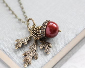 Red Necklace Red Pearl Acorn And Branch Branch Necklace Rustic Wedding Nature Jewelry Winter Wonderland Bridesmaid Gift Holiday Gift for Her
