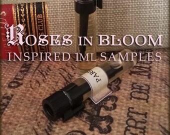 ROSES IN BLOOM Rose Perfume Sample set / 1ml perfume sample / Handcrafted Vegan perfume oil