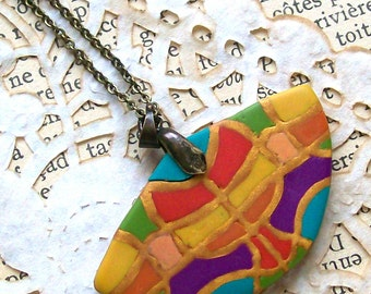 Gaudi-style fan necklace colorful mosaic semi-circle polymer clay pendant yellow orange green blue purple pink rainbow colors