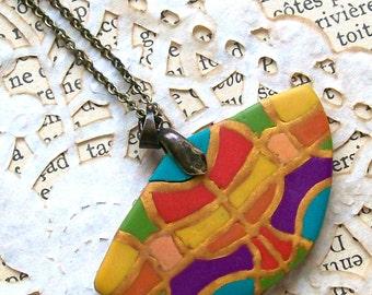 Gaudi-style fan necklace colorful mosaic semi-circle polymer clay pendant yellow orange green blue purple pink rainbow colors