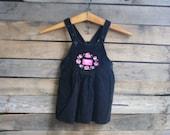 Vintage Children's Black & Pink Floral Corduroy  Dress by Osh Kosh B'gosh Size 2T