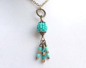 Turquoise Blue and Brown Beaded Cluster Pendant & Long Bronze Layering Necklace, Bohemian Style