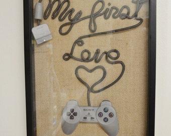 PlayStation PS 1 Wall Art Shadow Box - My First Love Fancy Writing