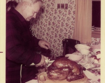 "Vintage Color Photo ""Happy Thanksgiving"" Man Carving Turkey Food Snapshot Antique Photo Old Photograph Found Paper Ephemera Vernacular - 10"