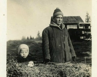 """Antique Photo """"The Unhappy Babysitter"""" Older Brother Sibling Odd Weird Face Humor Funny Farm Kids Americana Photograph Paper Ephemera - 58"""